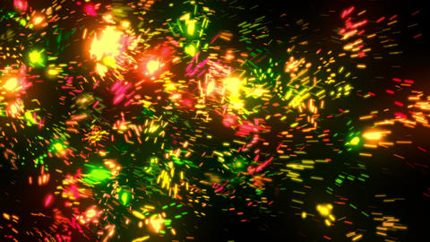 Abstract Green Fireworks Particles Animation