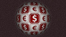 Decorative red and white video with rotating sphere - dollar and euro symbols CG動画素材