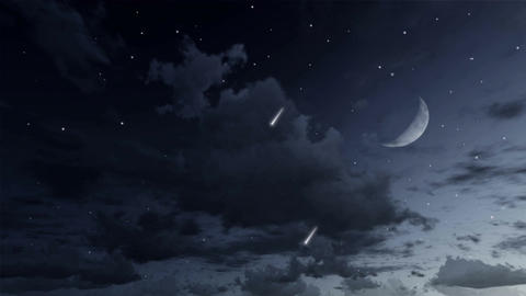 Falling stars in night sky cinemagraph loop Animation