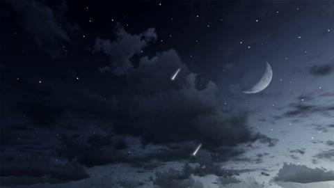 Falling stars in night sky cinemagraph loop Animación