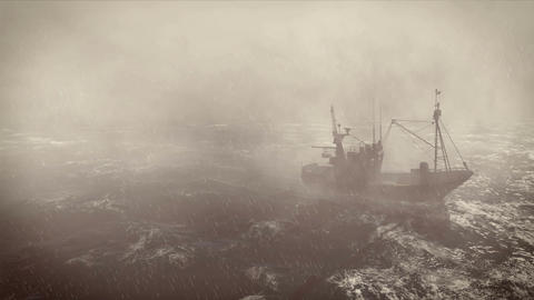 Fishing boat at storm with lightnings cinemagraph loop Animation