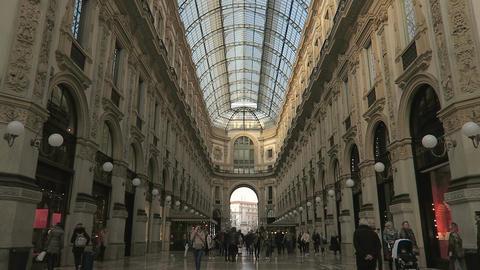 Milan, Italy inside Galleria Vittorio Emanuele II Footage