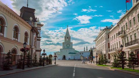 Timelapse Motion to Kazan Kremlin with Spasskaya Tower Footage