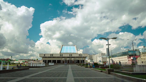 Timelapse Motion to Tatar Academic Theater against Cloudy Sky Footage