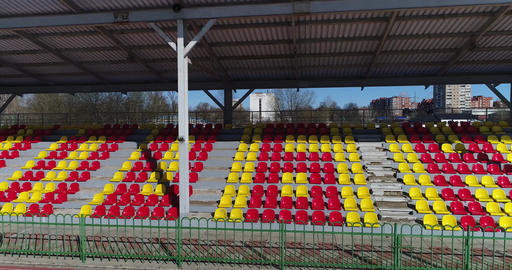 Panorama of the stands of the old stadium Footage