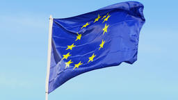 European Union - Real E.U flag waving in the wind with blue sky in the backgroun Footage