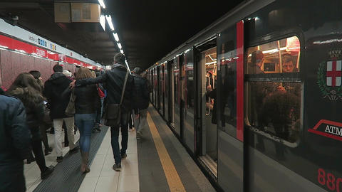 Milan, Italy Metro Coach in platform with passengers Footage
