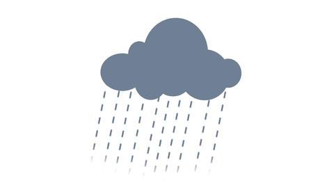 Cloud rains simple grey Animation