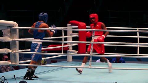 Boxing match RED - Lescaille Sifontes D., Cuba; BLUE-Schiopu N., Romania Footage