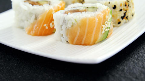 Sushi served on tray Live Action