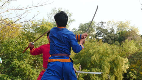 Sward fighters show in Thailand near Sanctuary of truth slow motion ビデオ