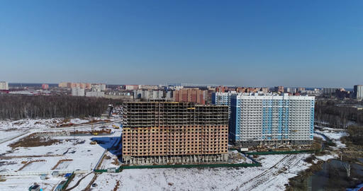 Aerial view сonstruction of a new residential area Footage