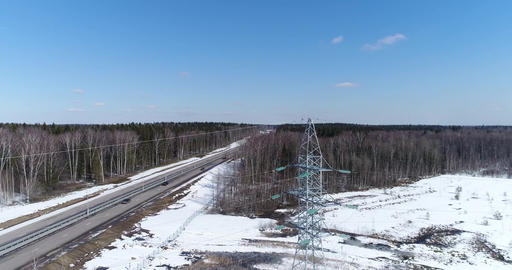 Highway and electric wires Footage