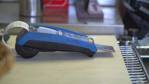 Credit card charge done on a mobile unit Footage