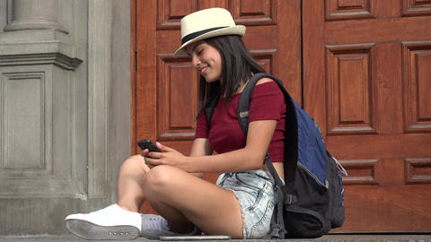 Female Student Using Smartphone Live Action