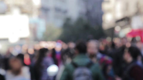 Blurry People walking in the city Footage