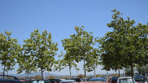 Blue Sky Over Car Park Footage