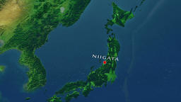 Niigata - Japan zoom in from space Animation