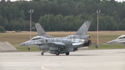 Polish F-16 Fighter Jets Launch To Participate In Exercise Eagle Talon stock footage