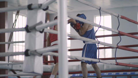 Slow Motion of Boxing Men on Ring in Light Hall Footage
