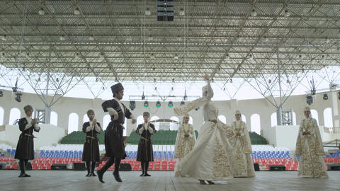 Ingushetia Folk Ensemble Dances in National Costumes Footage