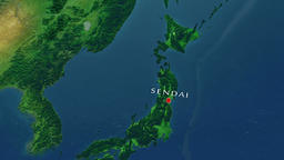 Sendai - Japan zoom in from space Animation