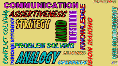 Video business concept with animated words - communication, assertiveness, strat Animation