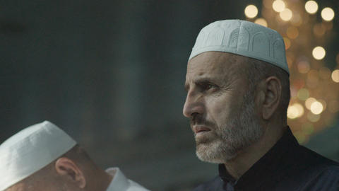 Men Wearing Muslim Headdress Pray in Ingushetia Mosque Footage