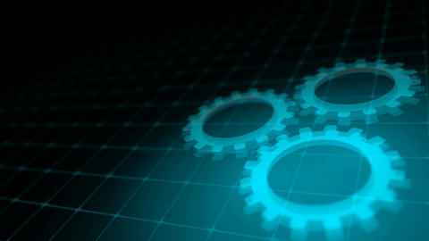 Concept of cooperation process - blue neon gears loop 3D render Animation