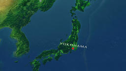 Yokohama - Japan zoom in from space Animation