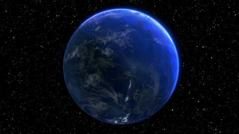 rotating planet earth in space. seamless loop - 3D render Animation