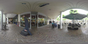 360 VR Pedestrian street with stores and cafes on rainy day. Frankfurt, Germany Archivo