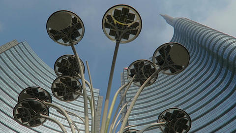 Milan, Italy Unicredit tower Gae Aulenti square LED lights Filmmaterial