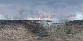 360 VR Rocky ocean coast of Mauritius Footage