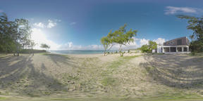 360 VR Timelapse of nature and couple walking on the beach, Mauritius Archivo