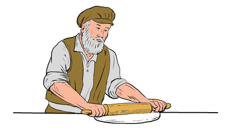Medieval Baker Rolling Pin 2D Animation Animation