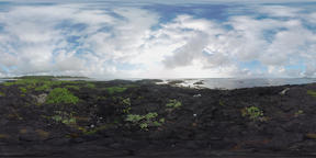 360 VR Mauritius scene with ocean and black volcanic rocks on coast VR 360° Video