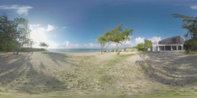360 VR Mauritius scene with blue ocean, beach and house on the coast Filmmaterial