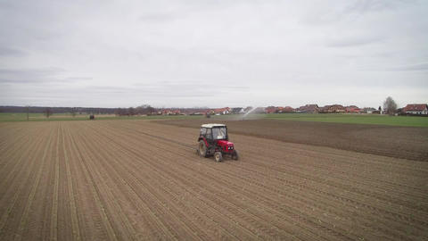 tractor rides around the field Footage
