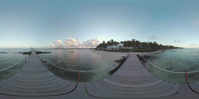 360 VR Evening scene of the coast with pier and ocean, Mauritius Footage