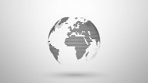 simple striped earth globe rotating Animation