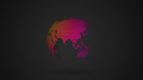 colorful striped rotating globe Animation