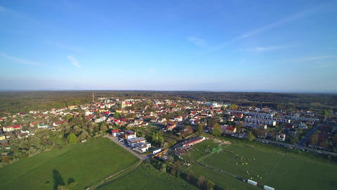 aerial view small town and football stadium ビデオ