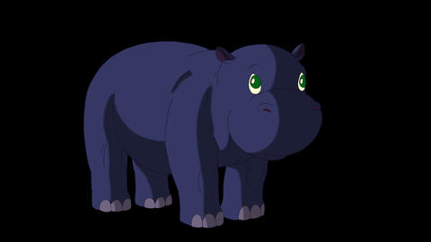 Little Blue Hippo Wakes Up and Open His Mouth Animación