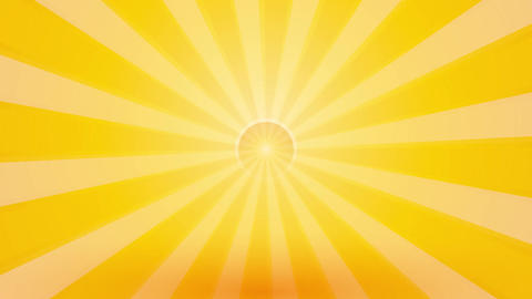 abstract yellow background with rays and pulsating circle endless loop Animation