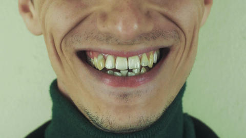 Man emphatically pronounce words in front camera. Mouth. Teeth. Laugh. Bristle Footage
