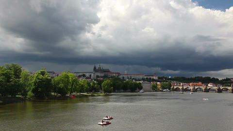 View on the spring Prague gothic Castle Footage