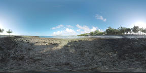 360 VR Scene of Mauritius ocean coast with rocks and beach line Archivo
