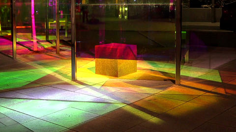 A bus stop with colored lights. Stockholm. Sweden Footage