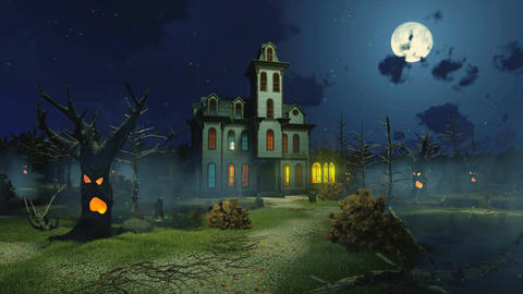 Scary haunted mansion at misty night cinemagraph
